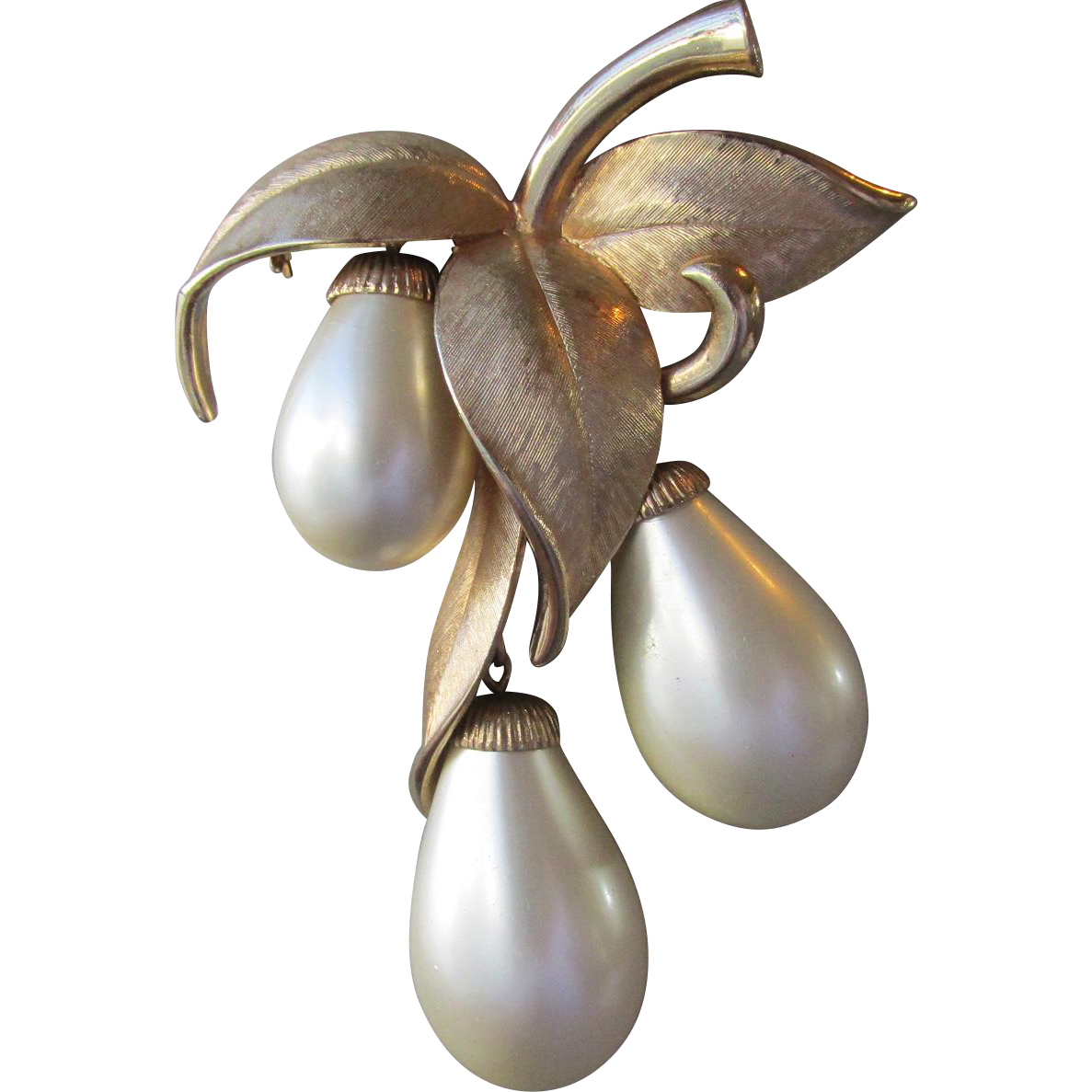 BIG Vintage Signed Marvella Dangle Tear Drop Pearl Pin