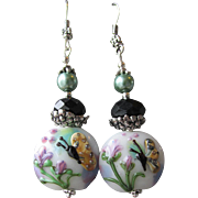 """My Secret Garden"" Lampwork Art Glass Artisan Earrings, ""Butterfly In Flight"" #3"