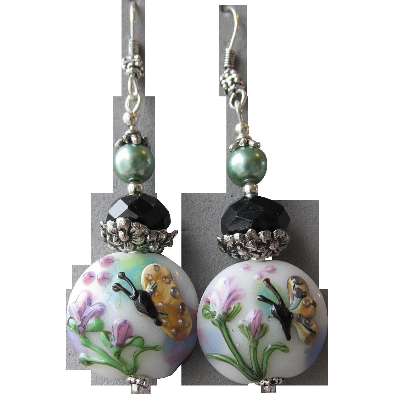 """""""My Secret Garden"""" Lampwork Art Glass Artisan Earrings, """"Butterfly In Flight"""" #3"""