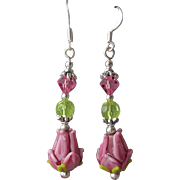 """My Secret Garden"" Lampwork Art Glass Artisan Earrings, ""Pink Tulips"" #4"