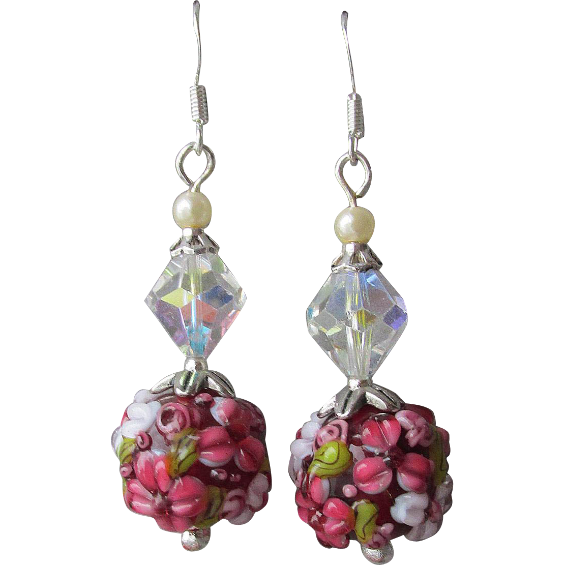 """My Secret Garden"" Lampwork Art Glass Artisan Earrings, ""Days of Wine Roses"" #6"