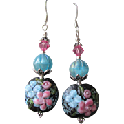 """My Secret Garden"" Lampwork Art Glass Artisan Earrings, ""Midnight Blooms"" #11"