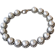 "Vintage HONORA Cultured Pearl PELLINI Collection Sterling Silver Bracelet, 7 3/4"" long"