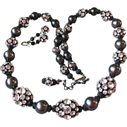 Magnificent HUGE Vintage 1960's Rhinestone Bead & Faux Black Pearl Long Japanned Enamel Necklace & Earrings Set