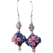 """My Secret Garden"" Lampwork Art Glass Artisan Earrings, ""Violet Fantasia""  #17"