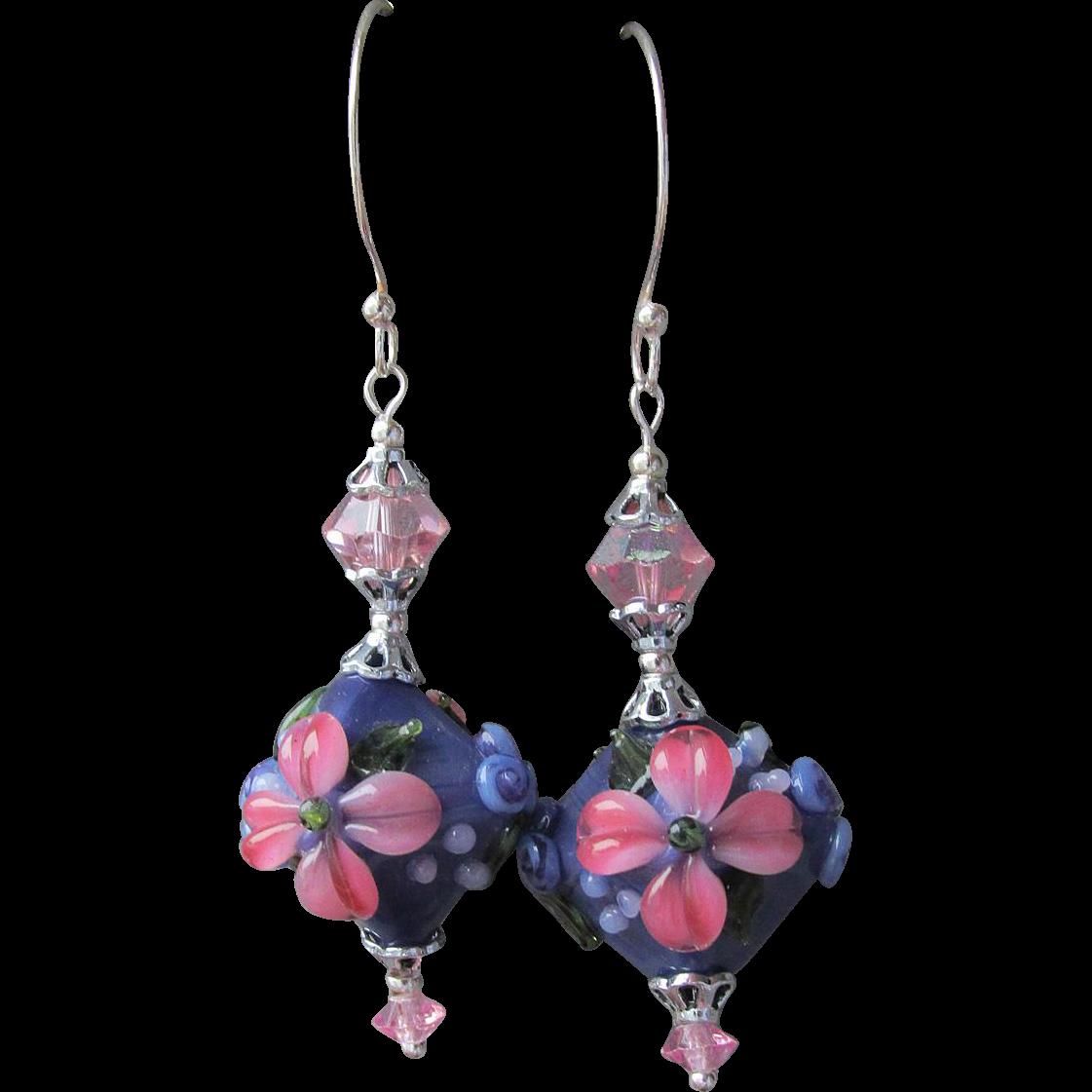 """""""My Secret Garden"""" Lampwork Art Glass Artisan Earrings, """"Violet Fantasia""""  #17"""