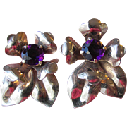 Retro 1940's Gilt Sterling Silver Amethyst Rhinestone Vintage Flower Earrings