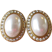 Vintage Big Faux Pearl & Rhinestone Button Pierced Earrings, Signed AFJ
