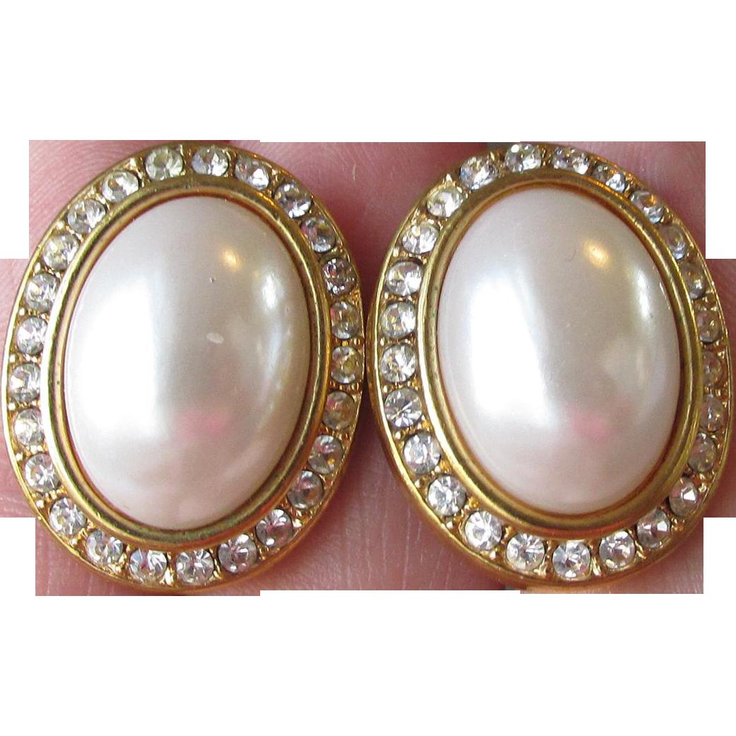 Vintage Big Faux Pearl & Rhinestone Button Pierced Earrings, Signed AFJ