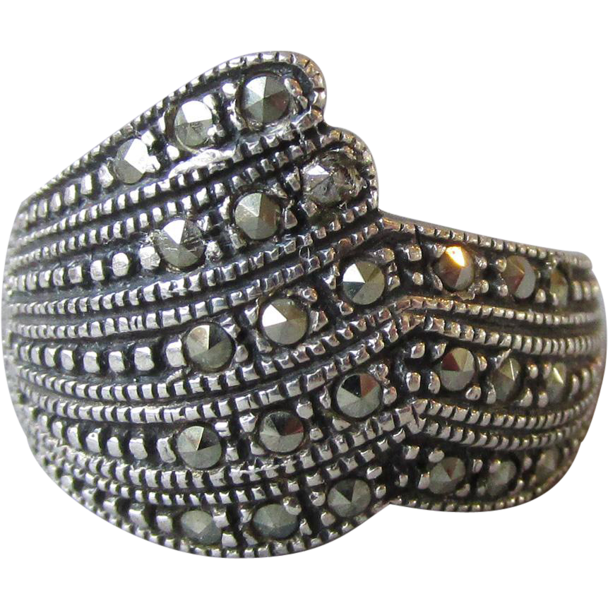 Vintage Sterling Silver & Marcasite Wide Band Ring, Size 5.75