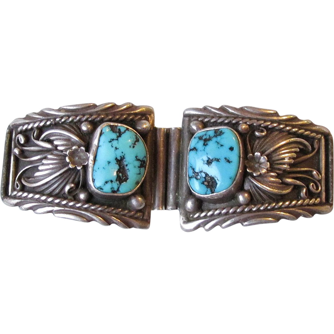 Vintage Native American Navajo Sterling Silver & Turquoise Watch Tips, Signed AC