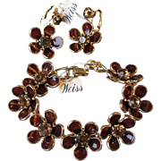 Vintage WEISS Mod 60's Collet Set Rhinestone Flower Power Bracelet & Earrings Set, NEW With Tags!