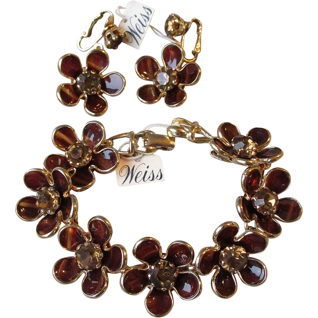 Vintage WEISS Mod 1960's Bezel Set Rhinestone Floral Bracelet & Earrings Set, NEW With Tags!