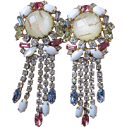 MASSIVE Hobe Dangle Rhinestone & Venetian Art Glass Vintage 1960's Earrings