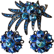 Incredible Signed WEISS AB Capri Blue Rivoli Japanned Pin & Earrings Set, Vintage 1960's Demi Parure