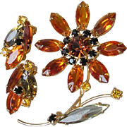 Topaz Rhinestone Long Stemmed Flower Pin & Earrings Set, Vintage 1960's MOD Demi Parure