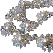 "VENDOME Faux Pearl & AB Swarovski Crystal Flower Cluster 28"" Long Vintage Wedding Necklace"
