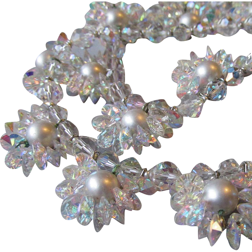 "VENDOME Faux Pearl & AB Swarovski Crystal Flower Cluster 28"" Long Vintage Wedding Necklace"