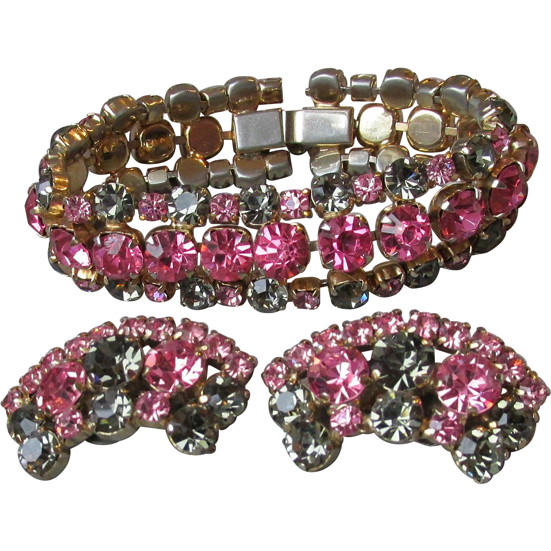 Vintage 1950's Signed La Rel Hot Pink & Olive Gray Green Rhinestone Bracelet & Earrings