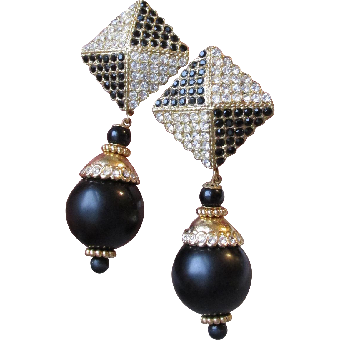 MASSIVE 1980's Vintage Black & Gold Rhinestone Dangle Ball Earrings, Signed Equivogue