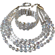 4 Strand Czech Crystal & Atlas Glass Beads Necklace & Memory Wire Bracelet Set, Vintage 1950's Demi Parure