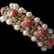 Signed ART Faux Pearl & Glass Coral Cabochon 3 Strand Vintage Bracelet