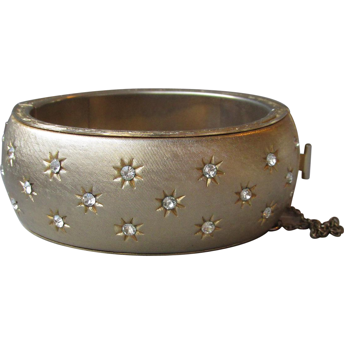 Vintage Crown TRIFARI Rhinestones In Stars Wide Hinged Bangle Cuff Bracelet, Size Small