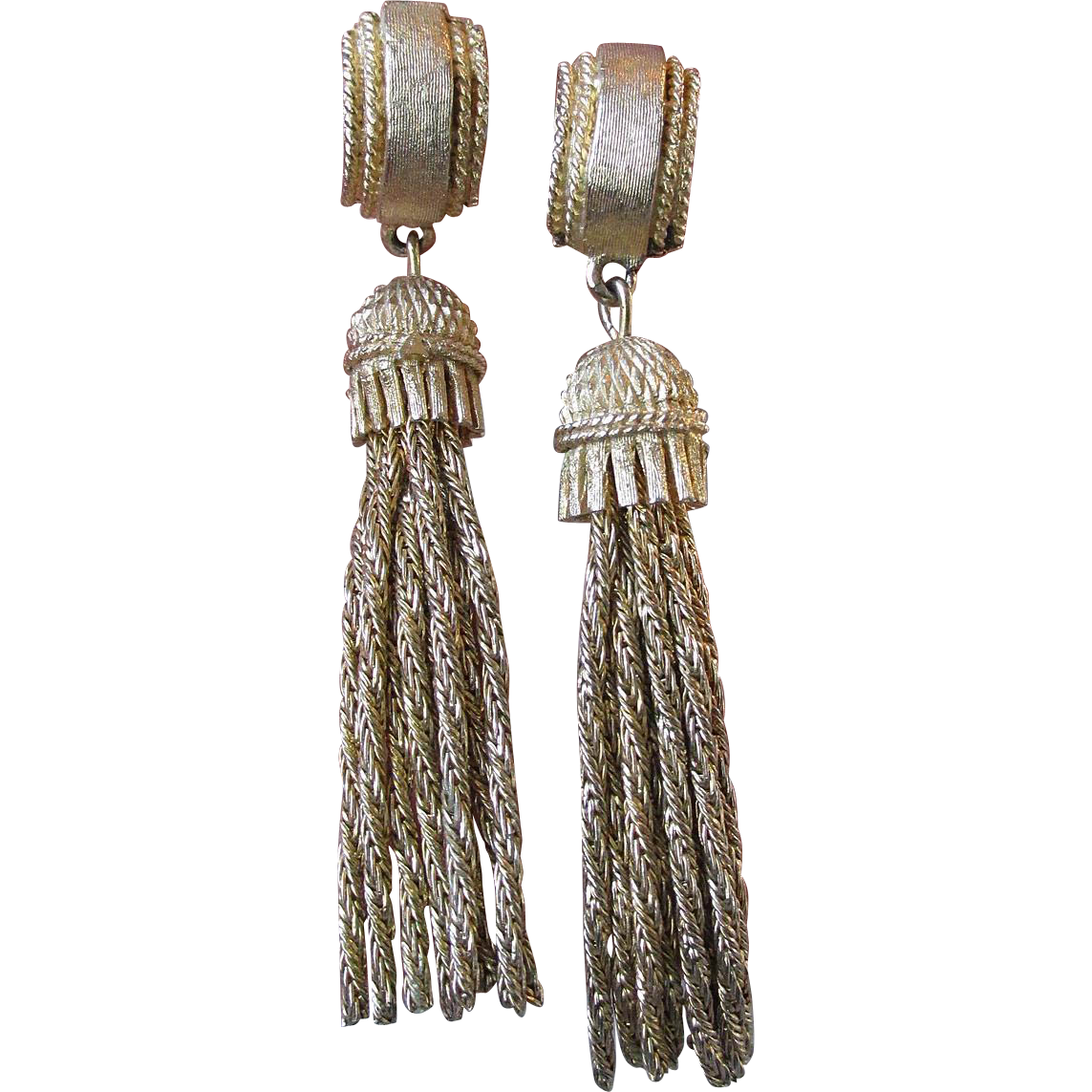 Vintage 1960's VENDOME Long Dangle Tassel Etruscan Earrings