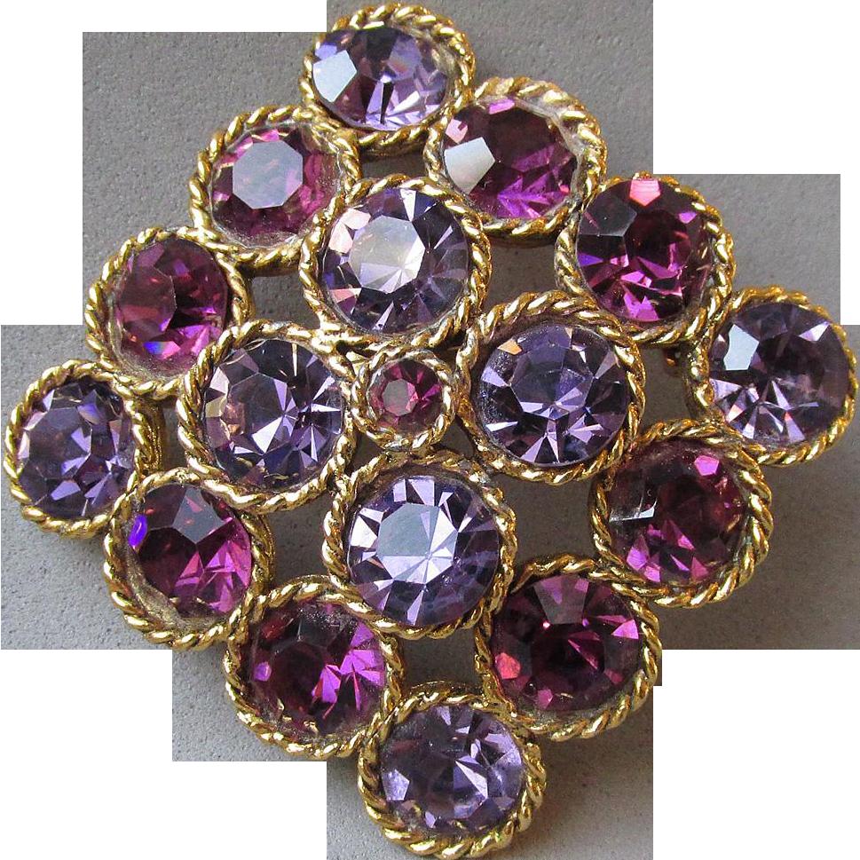 Sparkling Vintage 1960's Lavender & Dark Purple Rhinestone Pin