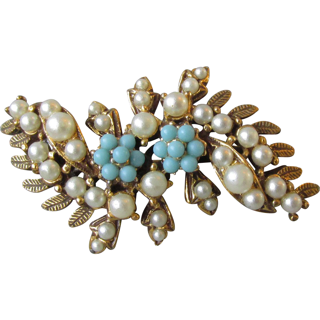 Delicate 1950's Vintage Faux Seed Pearl & Turquoise Flower Spray Pin