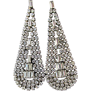 Big 1980's Vintage Rhinestone Tear Drop Dangle Pierced Earrings