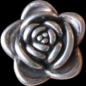 BIG Vintage 3-D Sterling Silver ROSE Flower Ring, Size 6.75