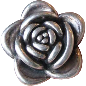 Vintage Big 3-Dimensional Sterling Silver ROSE Flower Ring, Size 6.75
