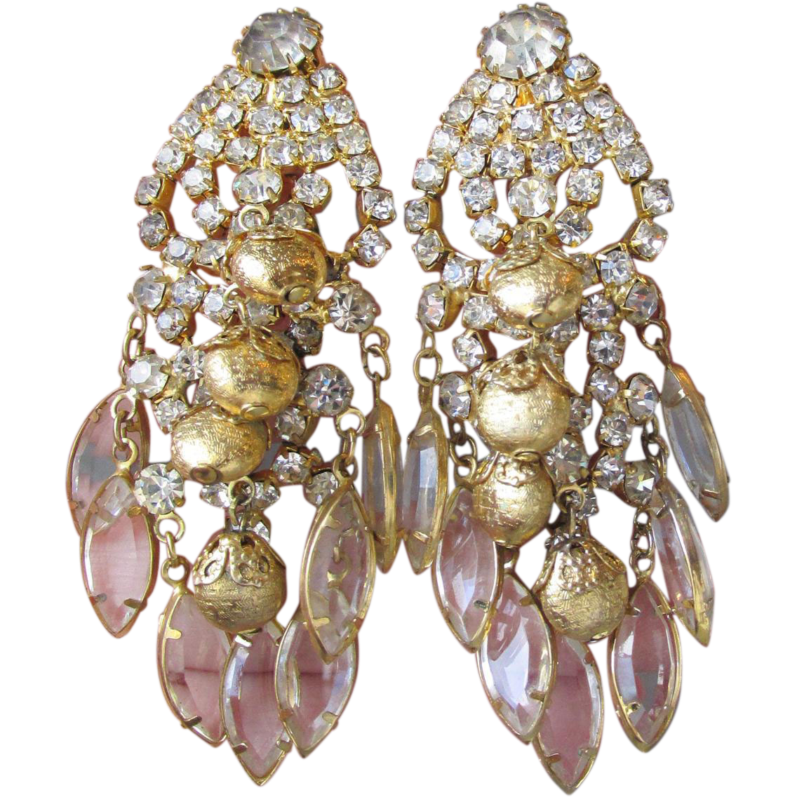 Gorgeous Vintage Marquise Crystal & Gold Bead Layered Chandelier Rhinestone Earrings