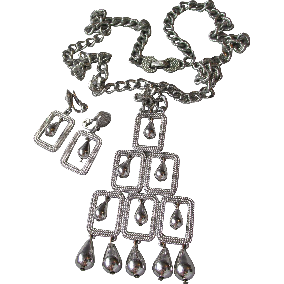 Fabulous MONET 1960's Mod Big Squares & Dangle Beads Necklace & Earrings Set