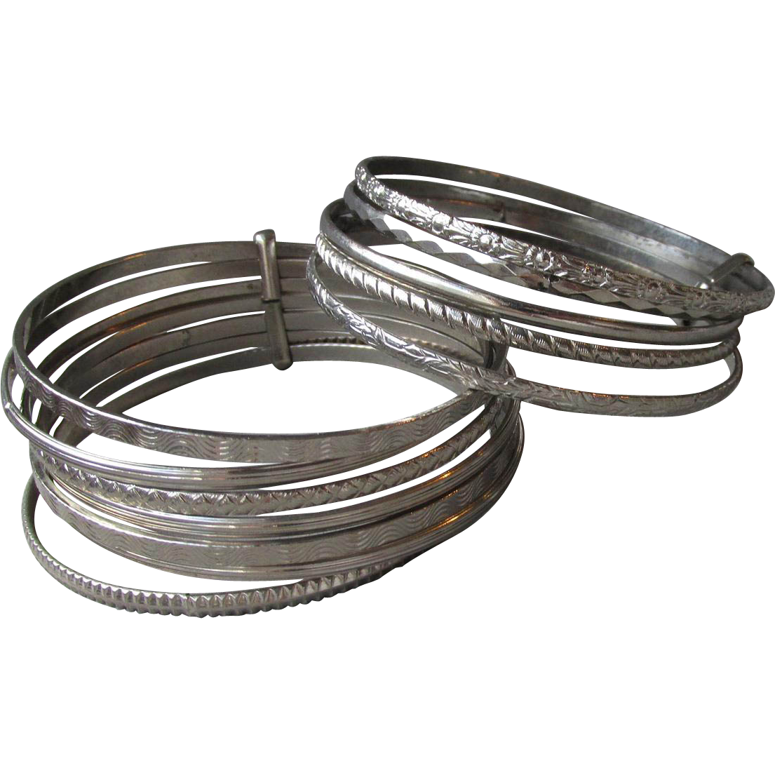 1960's Vintage Pair Multi Silver Tone Thin Bangle Bracelets