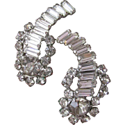 1950's Vintage Unsigned Weiss Large Baguette Rhinestone Climber Earrings