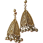 Vintage 1960's BIG Etruscan Revival Dangle Earrings