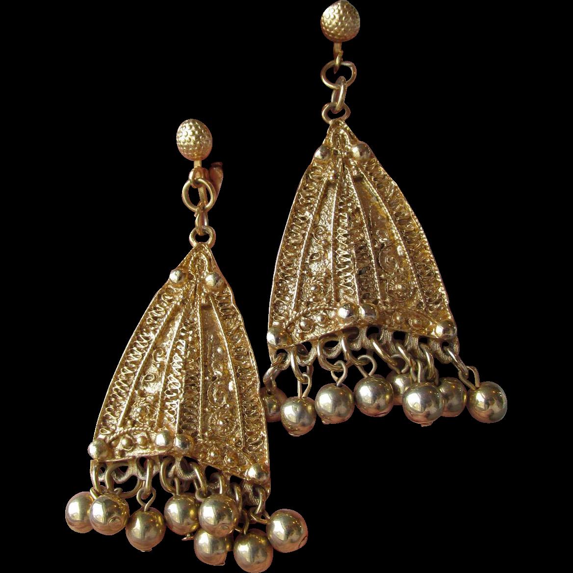 Vintage 1960's BIG Etruscan Revival Dangle Hippie Boho Earrings