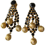 1960's Vintage Black Rhinestone & Gold Tone Bead Dangle Waterfall Chandelier Earrings