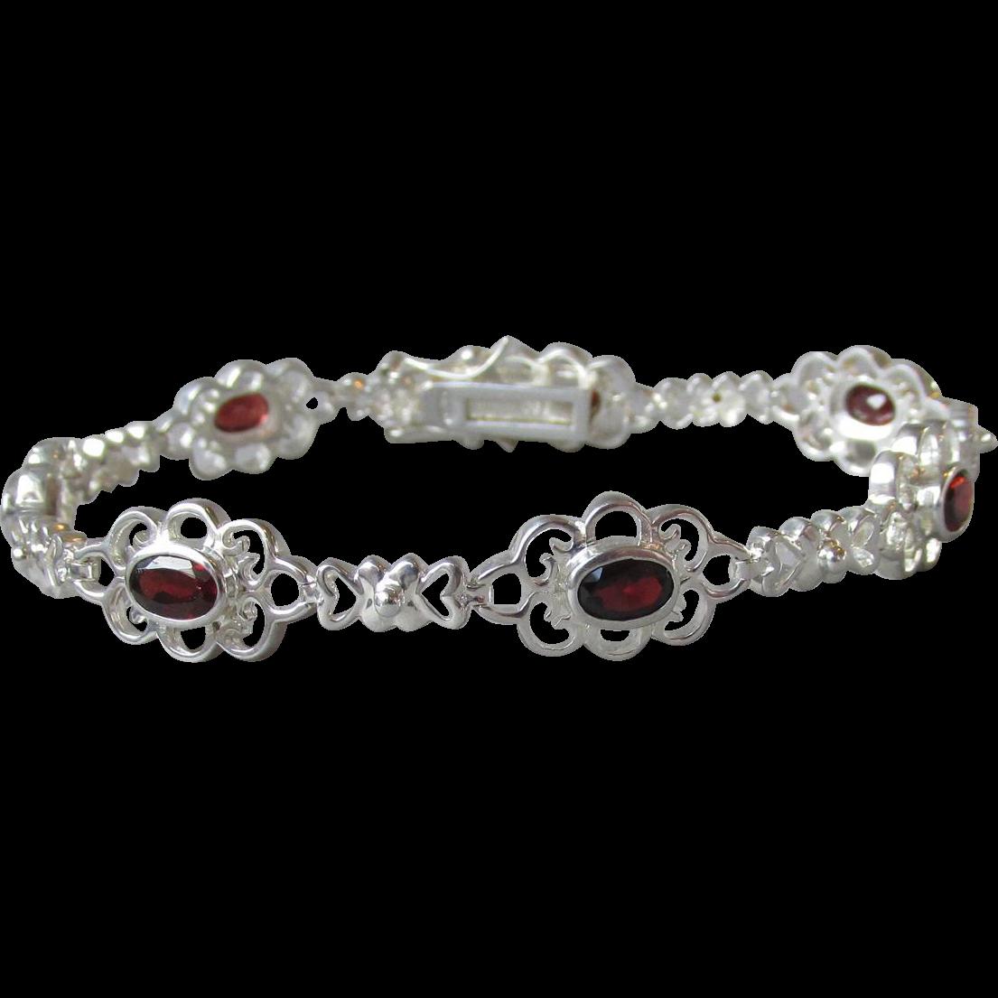 Lacy Vintage Sterling Silver & Garnet Bracelet