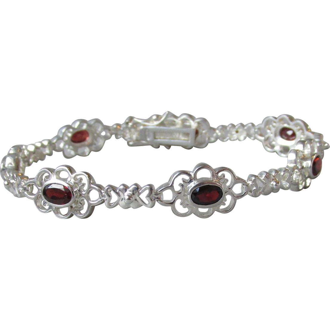 Vintage Sterling Silver & Oval Faceted Garnet Lacy Flower Link Bracelet