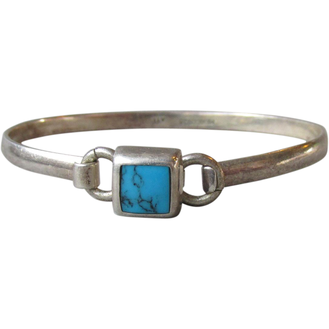 Vintage Mexico Sterling Silver & Inlaid Turquoise Thin Bangle Bracelet, Size Small