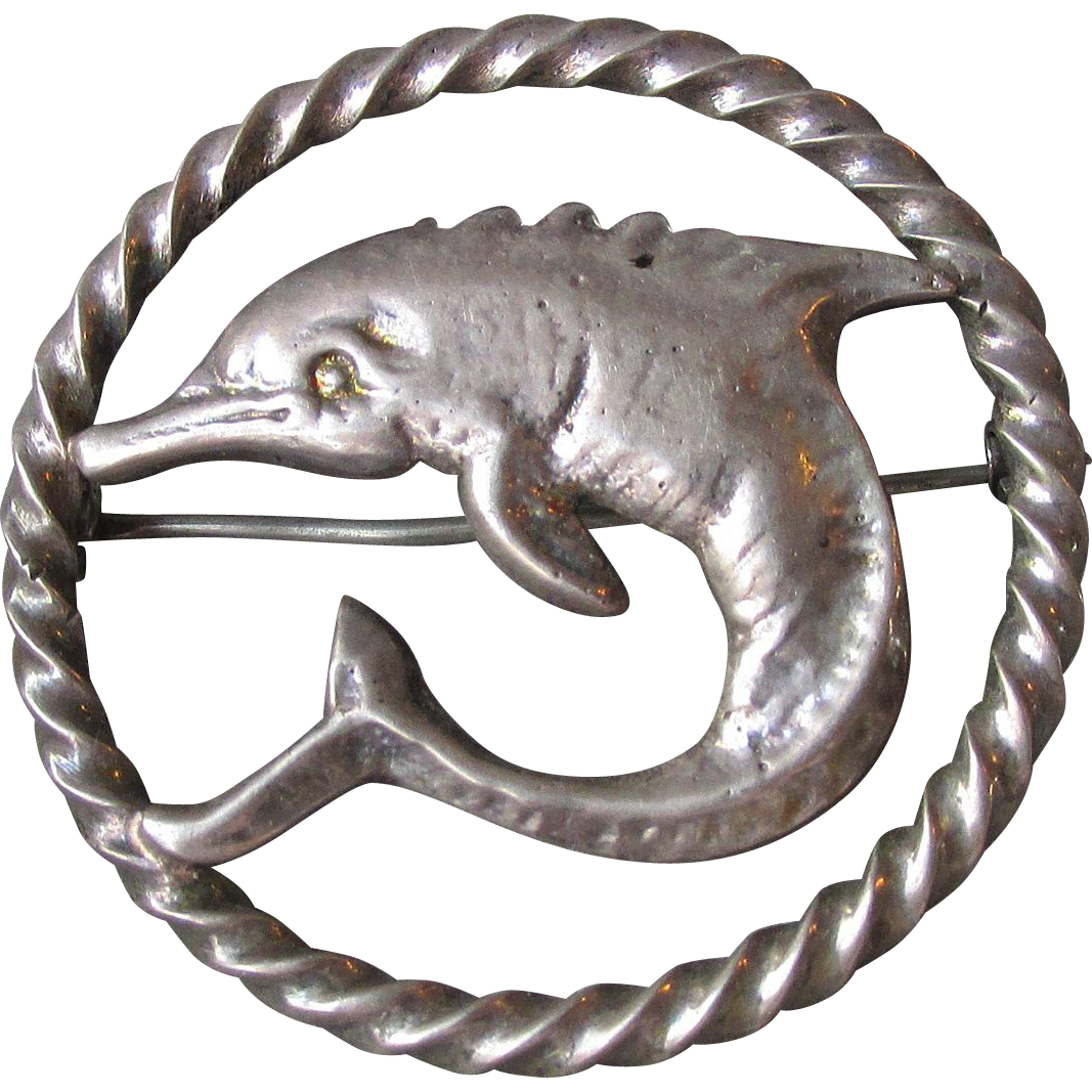 Vintage Peruzzi 800 Silver DOLPHIN Pin Brooch From Florence, Italy Circa 1950's