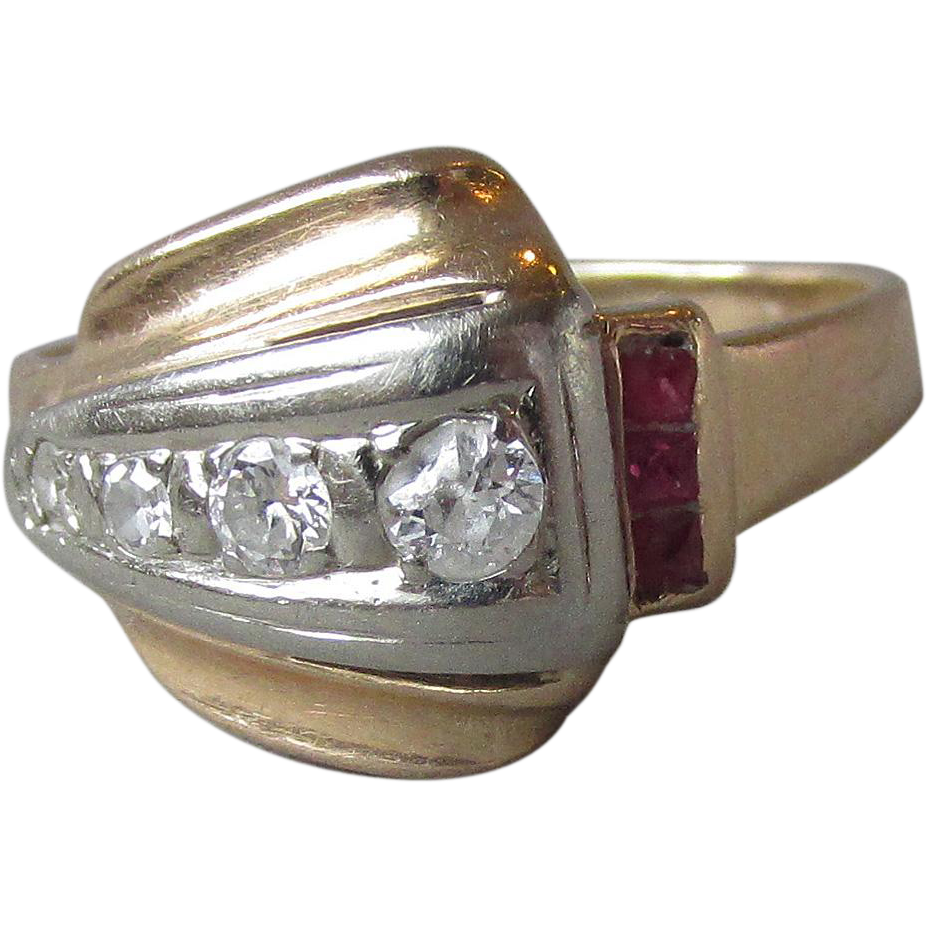 1940's Vintage Retro 14k Gold, Diamond & Ruby Ring