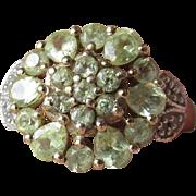Vintage Sterling Silver Vermeil PERIDOT Indie Princess Ring, Size 7