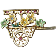 Vintage Rhinestone & Pastel Enamel Flower Cart Pin, Signed B.J. Beatrix