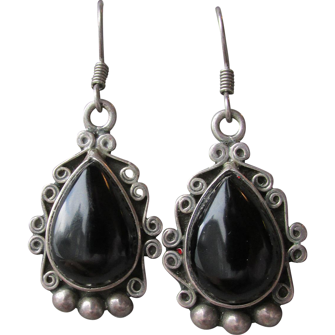 Big Vintage Dangle Mexico Sterling Silver & Dark Brown Smoky Quartz Earrings, Signed CH-125