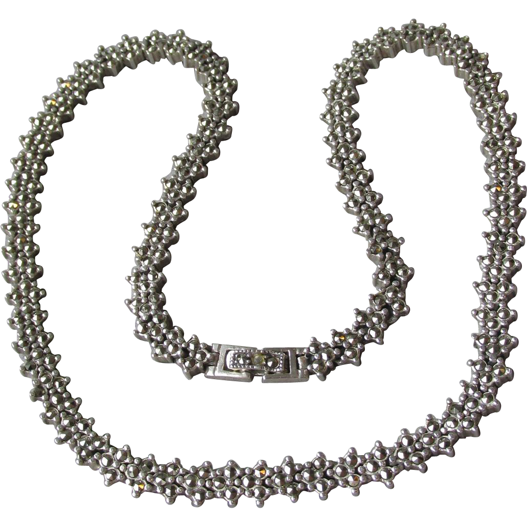 Sparkling Vintage Marcasite in Sterling Silver Heavy FLOWER Choker Necklace