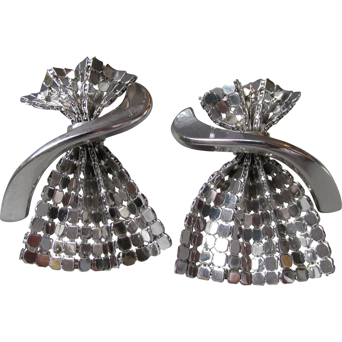 Vintage Unsigned Whiting & Davis Silver Tone DRESS Shaped Mesh Earrings